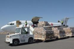 サヌア空港に到着した人道物資。(2017年11月25日撮影)
