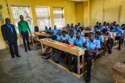 学校に避難していた住民が家に戻ることができ、授業が再開された。(ハイチ)2017年9月撮影