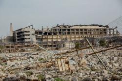 破壊されたアル・カンサ(Al Khansa) 病院。 (2018年2月4日撮影)