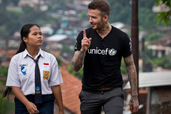 UNICEF Goodwill Ambassador David Beckham walks with Sripun, 15, near her home in Semarang, Indonesia, March 27, 2018. In February 2015, David Beckham and UNICEF launched a new, unique, multi-year initiative which aims to help UNICEF protect millions of children around the world from danger. This initiative is entitled 7: The David Beckham UNICEF Fund. The 7 Fund is on a mission to unlock incredible in every child. In Indonesia the 7 Fund will be targeting bulling and peer violence that keeps children away from school and supporting programmes that ensure that children, especially girls, feel safe to learn. Sripun was nominated by her peers to become an agent of change and participate in the UNICEF anti-bulling programme. Under the scheme, a peer nominated group is trained around issues of bullying and taught how to create positive environments, while teachers learn how to use positive discipline to ensure classrooms remain violence-free. Sripun says that being an agent of change is fun and supportive. Feeling passionate and fully supported by her parents, Sripun states that now she is never bullied and her self-confidence has improved. © UNICEF/Indonesia/Modola UNICEF Goodwill Ambassador David Beckham travelled to Indonesia to see how 7: The David Beckham UNICEF Fund is helping UNICEF to target bullying and peer violence that can keep children, especially girls, away from school. During the visit, David met children who have taken part in school based anti-bullying programmes. The visit announces the new focus for the 7 Fund to help children break down barriers and unlock their potential.