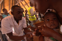 Location: Ondjiva, Cunene Province, Angola More than 11 million doses of the Yellow Fever vaccines have already been received and dispatched in Angola. More is being distributed during a massive 10 days campaign. There is no cure for Yellow Fever. It can only be prevented. A single dose of yellow fever vaccine is sufficient to give an individual life-long protection against the virus. This is just one of the reasons why UNICEF needs the support of donors to fund the critical work that saves children's lives. In a country where government resources are stretched to the limit to respond to the impact of El Nino on the urgent need for nutrition, water and livelihood support, the Yellow Fever outbreak is another cruel blow for Angola. Yellow Fever is transmitted by the bite of an infected mosquito and is difficult to diagnose in the early stages. The fever, headache, and muscle pain are reminiscent of malaria or dengue fever. A small number of patients who contract the Yellow Fever develop severe symptoms. Half of those will die within 7 to 10 days.  What UNICEF is doing to address the Yellow Fever outbreak: •	UNICEF has supported the procurement and distribution of 11,662,500 doses of Yellow Fever vaccines. •	UNICEF has donated 100 cold boxes, 100 vaccine carriers and 4,000 ice packs to allow vaccine teams to keep the vaccines at a proper temperature during the all-important cold chain. •	Social mobilizers have trained vaccinators to accelerate mass vaccination campaigns. •	UNICEF is playing an essential role in providing technical support in outbreak investigation and control plans, as well as in the development of national and provincial response plans. There are additional still images and video footage to support this story, including a few more details about the children and UNICEF workers appearing in these shots. For more information kindly contact ML Lalonde, Fundraising Engagement Manager, PFP Geneva, at MLLalonde@unicef.org For more on the r