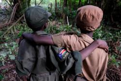 武装勢力から解放され、解放式典に参加する子どもたち。(2018年4月16日撮影)