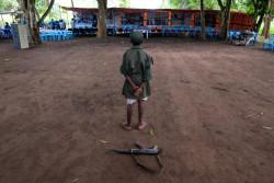 南スーダンで武装グループから解放されたガニコ君(12歳・仮名)。(2018年4月17日撮影)