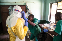 On 12 May 2018 in Democratic Republic of Congo (DRC), health workers get ready to attend to suspected Ebola patients in Bikoro Hospital, the epicenter of the latest outbreak in the DRC.  The DRC has experienced nine known Ebola outbreaks. Following the announcement by the Government of the Democratic Republic of the Congo (DRC) on 8 May 2018 of a new Ebola outbreak in Equateur Province, UNICEF has mobilised its teams to help contain the spread of the disease. The outbreak was declared in the Bikoro Health Zone, located more than 100 kilometers south of the provincial capital of Mbandaka. A UNICEF team with two doctors, a specialist in water, sanitation and hygiene as well as a specialist in community communication left today from Mbandaka to assess the extent of the epidemic and begin implementing the response, alongside the Government and the World Health Organization (WHO). This is the ninth Ebola outbreak in the country since 1976. UNICEF supports the Government in its coordination of the response both from the country's capital Kinshasa as well as in the affected area. UNICEF has been active in the Equateur Province for many years. Based on its experience in previous Ebola epidemics, UNICEF is focusing its response on communication activities in the communities to protect people from the disease and on water supply, hygiene and sanitation to prevent the spread of the disease. UNICEF has already sent a total of 45 kg of chlorine, five sprays, 50kg of soap and 28,000 water purification tablets to the area, as well as 600 posters and 6,000 leaflets to educate affected communities.