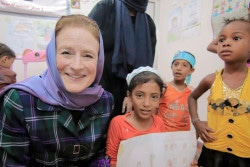 On 25 June 2018 in Yemen, (left) UNICEF Executive Director Henrietta H. Fore interacts with children at the child friendly space at the Alqatee'a Health Centre in Aden. In June 2018, the relentless conflict in Yemen has pushed a country already on the brink deep into the abyss. Social services are barely functional. The economy is in ruins. Prices have soared. Hospitals have been damaged. Schools have turned into shelters or have been taken over by armed groups. Today, 11 million children in Yemen – more than the entire population of Switzerland – need help getting food, treatment, education, water and sanitation. Since 2015, more than half of health facilities have stopped working, and 1,500 schools have been damaged due to airstrikes and shelling. At least 2,200 children have been killed and 3,400 injured. These are only numbers we have been able to verify. The actual figures could be even higher.  In Hodeida, 5,000 families have fled their homes in the past two weeks. UNICEF teams on the ground reported that shops, bakeries and restaurants in the city are largely closed, limiting the availability of supplies in the market. Supplies of basic commodities including wheat flour, vegetable oil and cooking gas are dwindling. The price of wheat and vegetable oil increased by 30 per cent and that of cooking gas by 50 per cent in the last week. Electricity is unavailable in most areas of the city and damage to the water supply pipes has caused severe water shortages. By late June 2018, more than 50 tons of UNICEF medical items, including antibiotics, paracetamol and folic acid, have reached Hodeida from Djibouti and will benefit 250,000 women and children. Prior to this shipment, and before the battle for Hodeida started, UNICEF placed enough supplies to help replenish health centres and provide 500,000 people, including pregnant women, babies and children, with basic health items.  UNICEF remains on the ground, in Aden, Sanaa, Ibb, Hodeida and Saada with a team