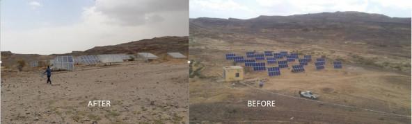 大規模給水施設の攻撃前と攻撃後の比較(イエメン北西部サアダ県)