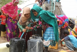 On 12 May 2018 in Yemen, women and children fill jerrycans with water in Bajel district of Hodeidah where water is scarce. On 10 June 2018, UNICEF teams delivered antibiotics, syringes, IV fluid, ready-to-use therapeutic food and hygiene kits to UNICEF partners in Hodeidah.  At least 300,000 children currently live in and around the city.  Millions more children throughout Yemen depend on the humanitarian and commercial goods that come through the port of Hodeidah everyday for their very survival.