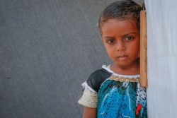 "On 14 March 2018 in Aden City, Yemen, a child is displaced from Taiz because of the conflict. Nearly half a million children have dropped out of school since the 2015 escalation of conflict in Yemen, bringing the total number of out-of-school children to 2 million.  Almost three quarters of public school teachers have not been paid their salaries in over a year, putting the education of an additional 4.5 million children at grave risk. According to the UNICEF report, ""If Not In School"", more than 2,500 schools are out of use, with two thirds damaged by attacks, 27 per cent closed and 7 per cent used for military purposes or as shelters for displaced people."