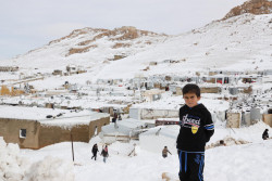 On 10 January 2019 in Baalbeck, Lebanon, Syrian refugees living in informal tented settlements in Ersal struggle with dire conditions that have worsened after a strong storm hit Lebanon on 6 January. Lebanon was affected by a heavy storm that started on 6 January 2019 and lasted until 9 January. Heavy rain, strong wind, snow and cold temperature led to floods, loss and destruction of assets and displacements in many regions, especially affecting coastal and mountain areas. Informal settlements where refugees reside were particularly affected due to weak infrastructure. In close coordination with Inter-agency and the government, UNICEF with partners started immediate response especially in WASH and distribution of blankets and winter clothes for children, and other supplies. As 10 January 2019, Inter-agency estimates that over 11,300 people, over half of them children, in more than 360 sites have been affected. UNICEF and partners are preparing for another storm expected on 13 January.