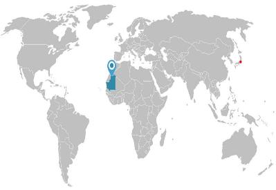 日本から遥か離れたモーリタニア(約13,000km)