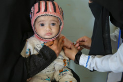 "A child is vaccinated at a health centre in Bani Alhareth, Sana'a during a UNICEF-backed Measles and Rubella vaccination campaign. ""This is a wake up call. We have a safe, effective and inexpensive vaccine against a highly contagious disease – a vaccine that has saved almost a million lives every year over the last two decades,"" said Henrietta Fore, UNICEF's Executive Director. ""Just as the serious outbreaks we are seeing today took hold in 2018, lack of action today will have disastrous consequences for children tomorrow."" UNICEF and partners have reached 11 million children with the vaccine since the beginning of 2019."