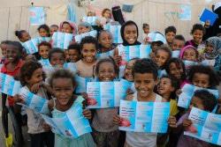 アデンでこれから予防接種を受ける子どもたち。(2019年2月撮影)