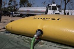 ユニセフは被災者が滞在するキャンプで安全な水を提供している。(2019年3月28日撮影)