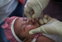 ポリオの予防接種を受ける赤ちゃん(インドネシア)