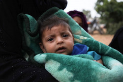 On 3 June 2019 in the Syrian Arab Republic, families fleeing hostilities in Idlib set-up a makeshift camp in Aqrabat village, 45km north of Idlib City, near the Turkish border.  A baby rests with adults beneath a tree. As of 3 June 2019, the ongoing hostilities in the de-escalation zone in north western Syria have forced hundreds of thousands of people to leave their homes to safer areas. Most of them living outside camps and reception centres. This latest displacement follows months of rising violence in the area, which has reportedly left at least 134 children dead and more than 125,000 people internally displaced since the start of the year. Nearly 30 hospitals have come under attack and the spike in violence has forced some of UNICEF's healthcare partners to suspend their lifesaving operations. Approximately 43,000 children are now out of school, while final exams in parts of Idlib have been postponed, thus affecting the education of 400,000 students. UNICEF's partners are on the ground in the northwest, working to reach children and families with mobile health clinics, immunization and nutrition services, psychosocial support and water and sanitation supplies.