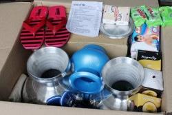 緊急時に備えて準備された水と衛生の緊急支援物資。(2019年5月撮影)