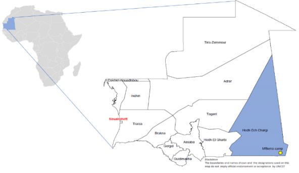 マリ難民MBerraキャンプ(右下)とホストコミュニティ(首都ヌアクショットから約1,400km)