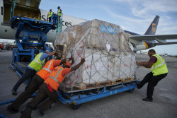 On 7 September 2019 in Bahamas, the first shipment of UNICEF emergency supplies arrive at the Nassau International Airport, along with IFRC supplies via UPS aircraft.  The nearly 1.5 tons of lifesaving supplies are for families left reeling by the impact of Hurricane Dorian. The UNICEF supplies include over 400,000 water purification tablets, several 5,000-liters tanks for at least 2,000 people and 1,000 jerry cans. These supplies will be distributed to the affected communities in the coming days.The first shipment of UNICEF Emergency Supply arrives at the Nassau International Airport, along with IRC supplies, via UPS aircraft. The Bahamas. On 1 September 2019, Category-5 Hurricane Dorian hit Abaco and Grand Bahama islands in the Bahamas, leaving behind a path of destruction unprecedented in this Caribbean country. As of 5 September, the death toll had reached 30 but the number of casualties could be significantly higher as search and rescue operations continue. Given the extremely challenging logistics, Rapid Needs Assessment Teams have only been able to conduct aerial reconnaissance, but ground assessments are still pending to grasp the extent of the disaster and the situation of the population. UNICEF was able to reach Abaco island on 6 September to witness the extent of the destruction. Authorities estimate that at least 68,000 people have been exposed to the disaster in Grand Bahama and Abaco, among them around 18,000 are children and adolescents. Considering the extensive damages and access constraints, safe water, food, health care, non-formal education activities and psychosocial support for children and adolescents are the envisaged priority needs.