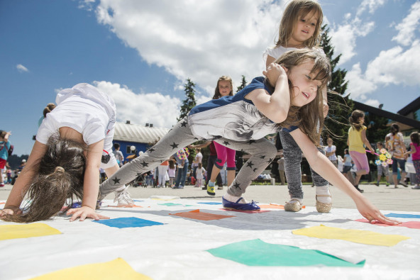 """Young children are playing in an outdoor kindergarten during the promotion of the Preschool for All"""" campaign in the Rozaje municipality, located in the north of Montenegro, on the 7th of July 2015."""
