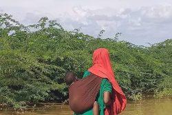 ソマリアの村で赤ちゃんをおんぶしながら、浸水した道を歩く母親。(2019年11月3日撮影)